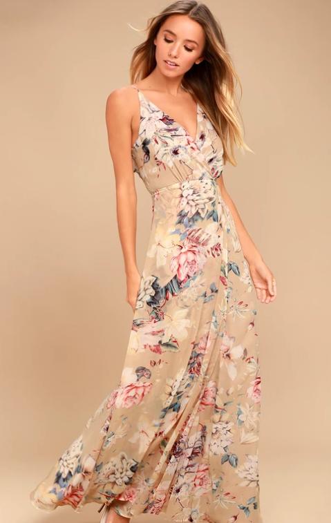 Lulus beige floral dress