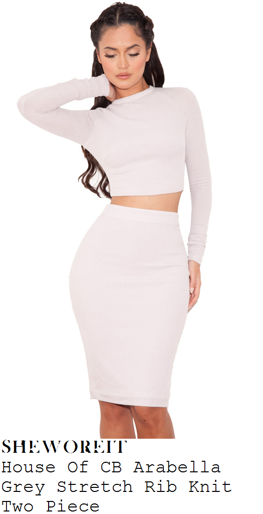 0d91e8ec87da Nicole Scherzinger's House Of CB Arabella Pale Grey Long Sleeve High Neck  Ribbed Knit Crop Top & Matching High Waisted Bodycon Pencil Skirt