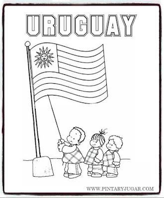 colorear dibujos bandera Uruguay con niños