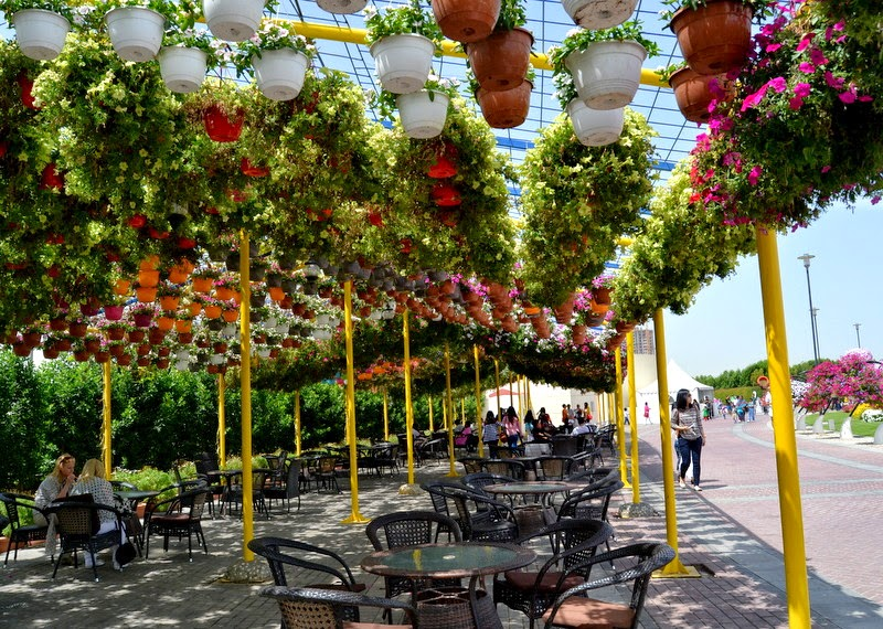 seating area at Dubai Miracle Garden