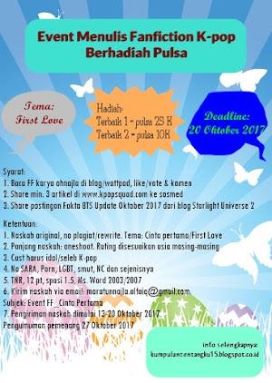 [Event] Event Menulis Fanfiction Khusus Pecinta K-pop Berhadiah Pulsa || Tema: First Love