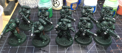 Dark Angels Primaris Hellblasters WIP metal on the plasma weapons