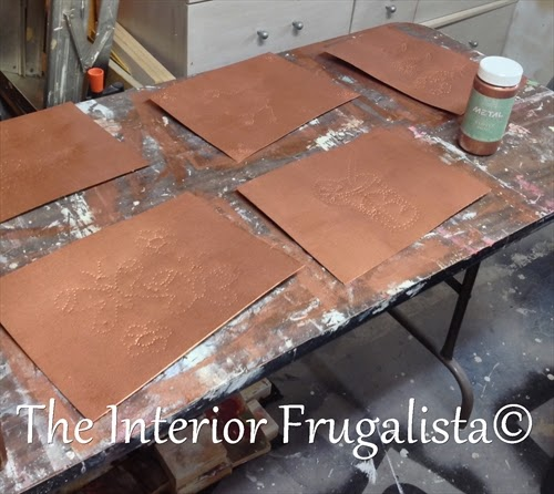 Galvanized tin with Copper Reactive Metallic Paint for Repurposed Door Flower Box