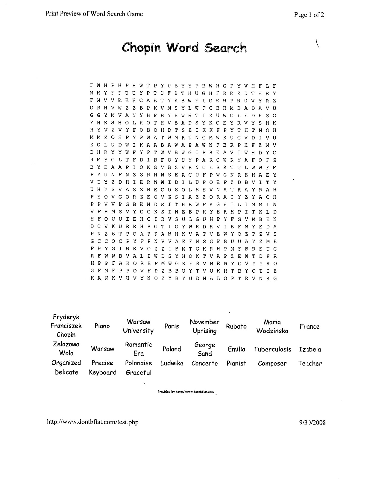 Miss Jacobson S Music Chopin Word Search
