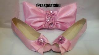 Baby Pink Tas Pesta Clutch Bag dan Sepatu