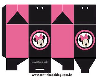 Cajas de Minnie Rosa y Negro para imprimir gratis.