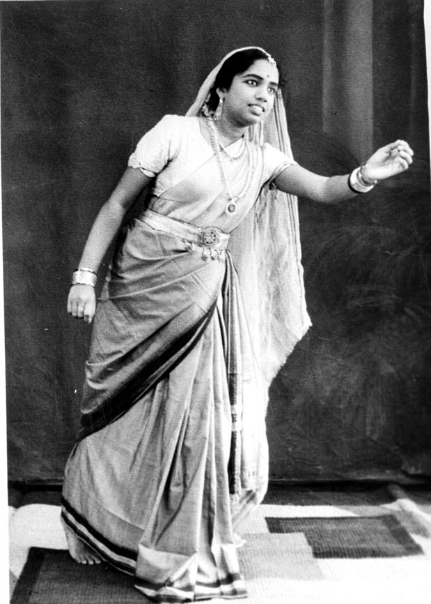 Padmaja Devi in a Kathakali Dance Pose Representing Yashodra Coaxing her Son Krishna to Come Near - 1949