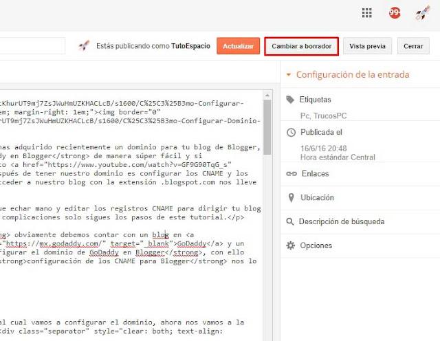 Cómo personalizar la URL de mi post en Blogger