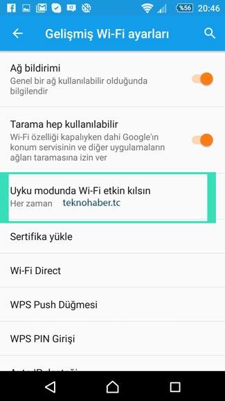 Uyu Modunda Wi-Fi açık kalsın