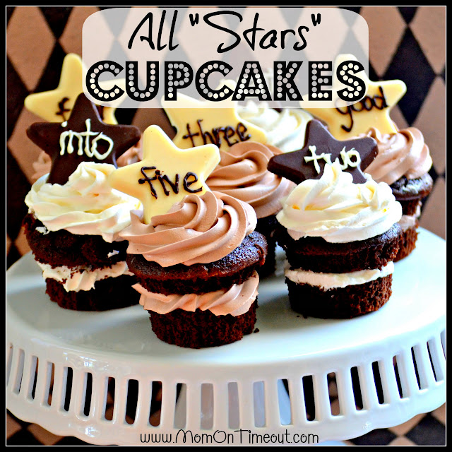 "All ""Stars"" Chocolate Cupcakes from MomOnTimeout.com - Delicious, rich chocolate cupcakes for that special someone!"