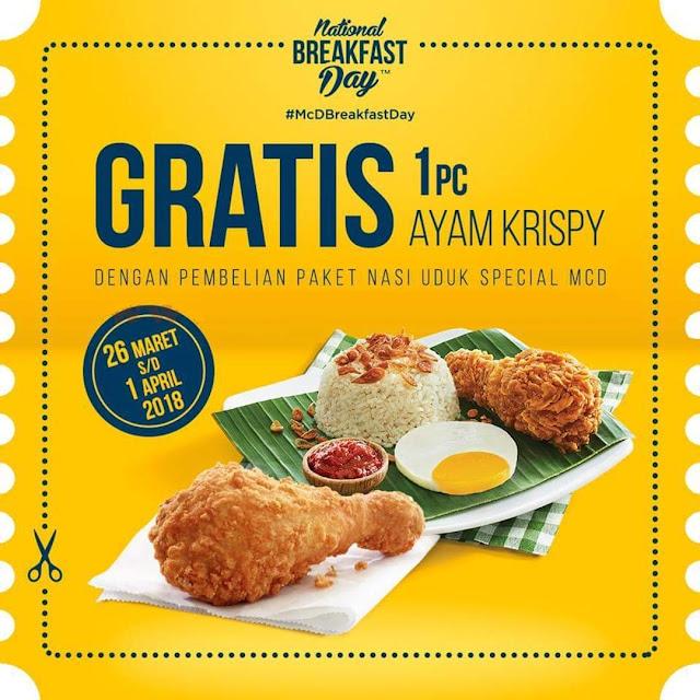 Promo MCDONALDS Terbaru GRATIS 1 Pc Ayam Krispy Periode 26 Maret - 1 April 2018