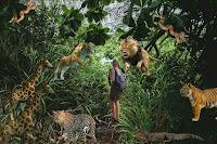 Persona en una jungla con animales