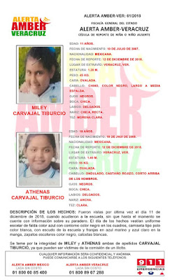 Activan Alerta AMBER para Athenas y Miley Carvajal en Veracruz