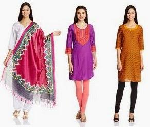 Flat 50% Off on Women's Ethnic Wear (Kurta, Dupatta, Patiala, Churidar & more) @ Amazon