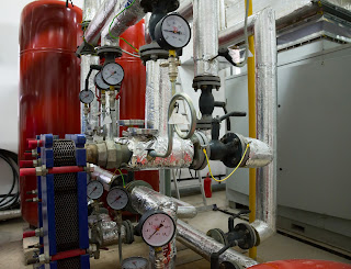 industrial process steam piping and gauges