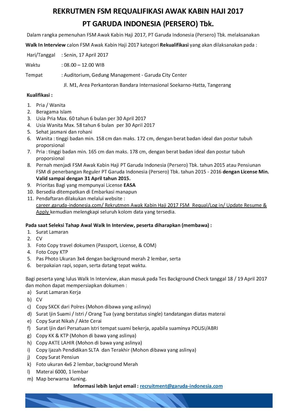 Loker PT. Garuda Indonesia Terbaru April 2017