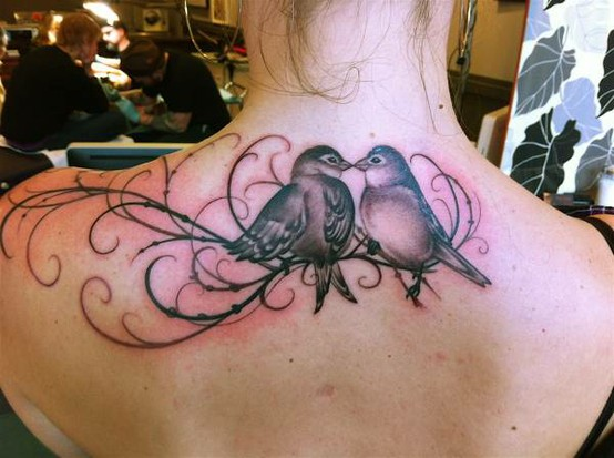 See more Love birds tattoo on back