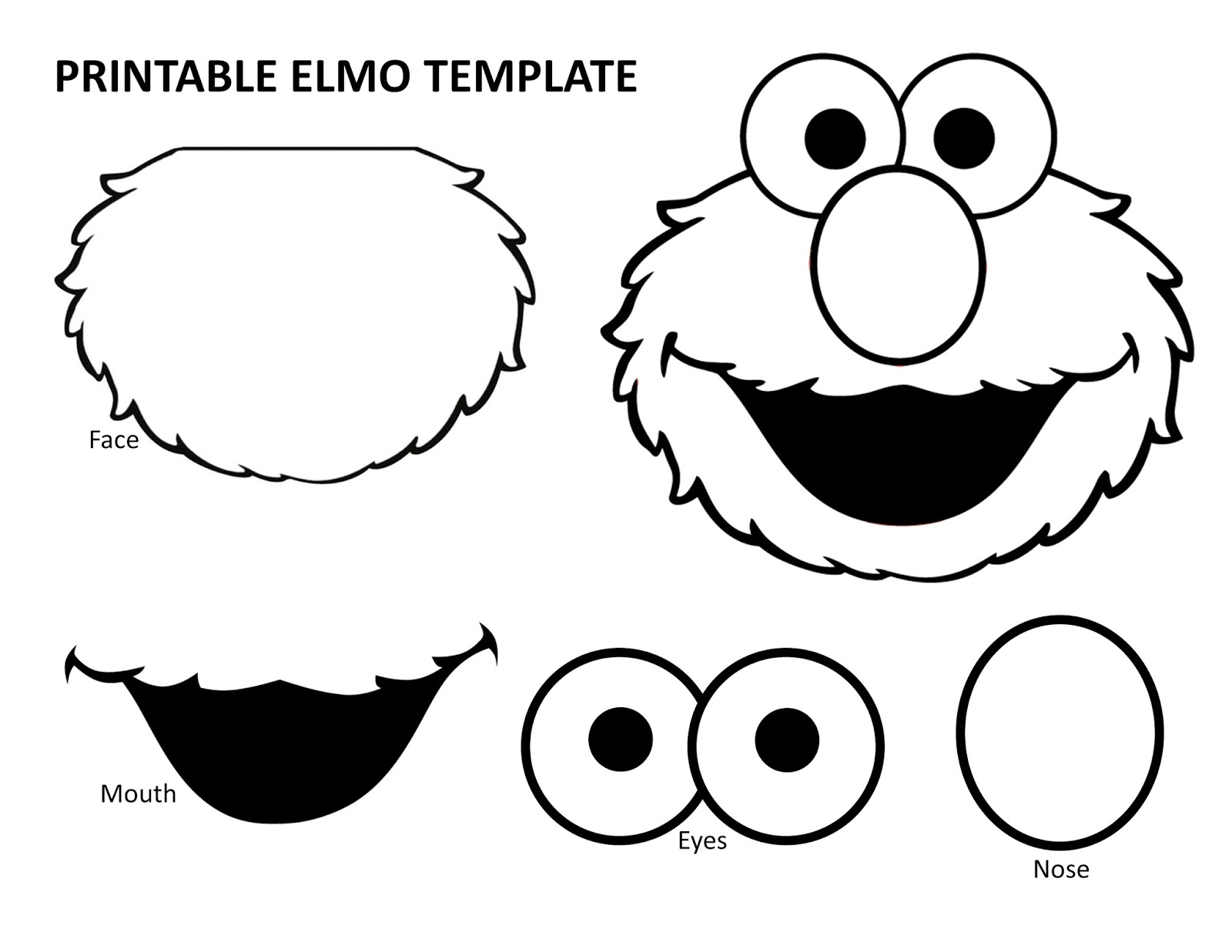 Richly blessed emery turns two elmo birthday party for Cut out character template
