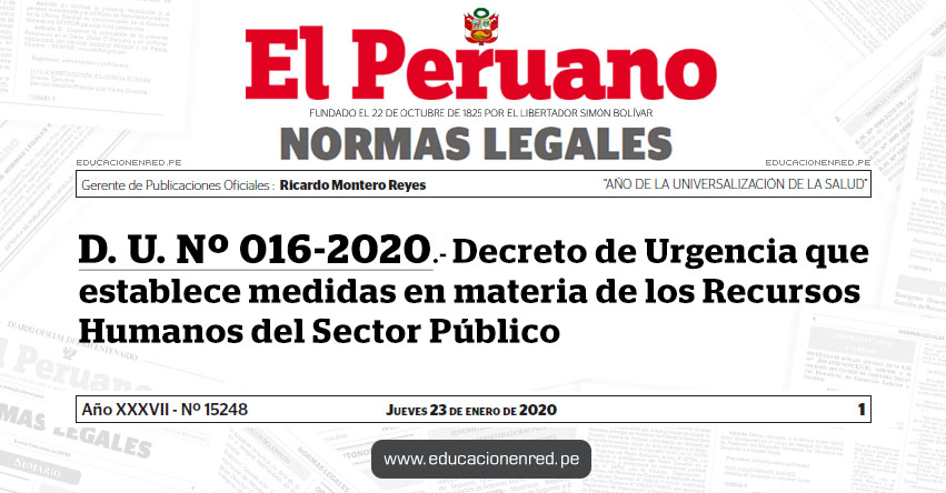 D. U. Nº 016-2020.- Decreto de Urgencia que establece medidas en materia de los Recursos Humanos del Sector Público