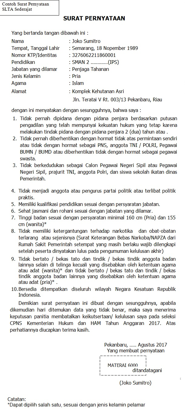 contoh surat pernyataan SLTA Kemenkumham