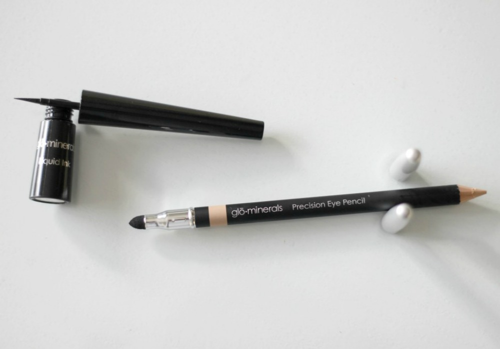 Glo Minerals Liquid Ink Liner Black and Precision Eye Pencil Peach