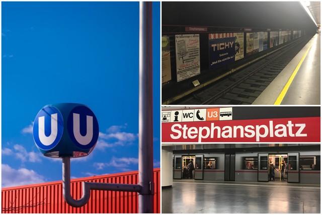 Símbolo metro Viena U-Bahn - Estación de metro Stephansplatz en Viena
