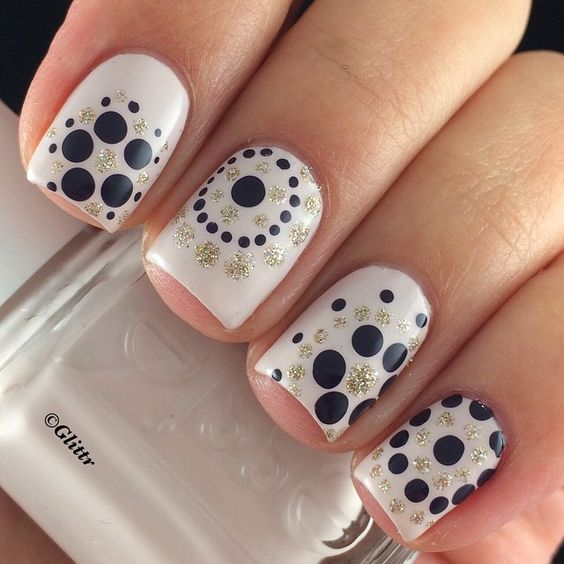 Cute Polka Dot Nail Designs Black White Nation