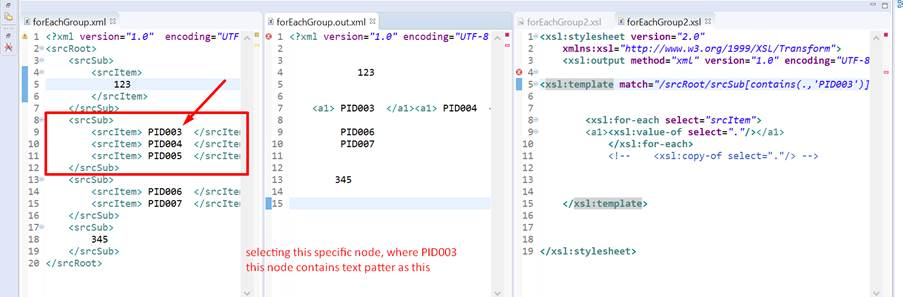 SAP PI Reference: few xslt examples template match condition