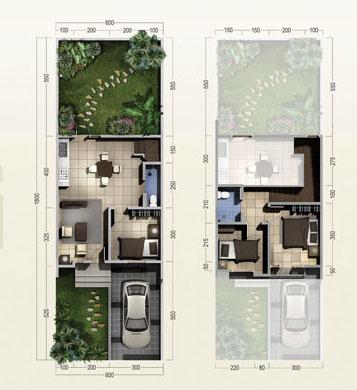 Denah rumah minimalis ukuran 6x18 meter 3 kamar tidur 2 lantai