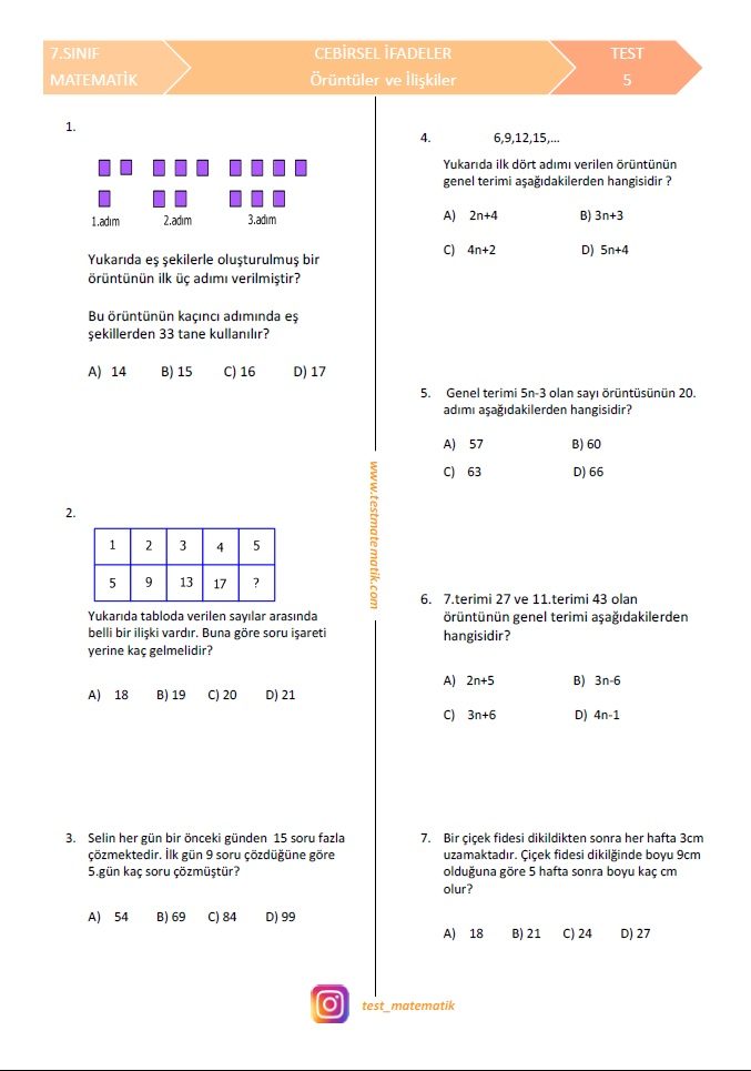 7 Sinif Oruntuler Ve Iliskiler Testi Test Matematik