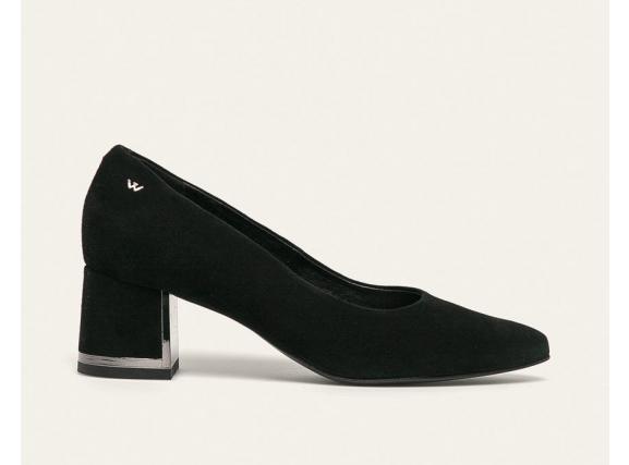 Wojas - Pantofi dama negri de piele office cu to gros