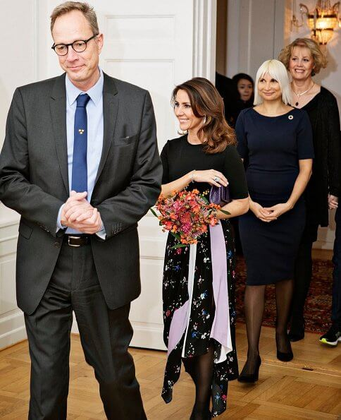 Princess Marie wore a new floral-print two tone patch midi dress by Maje. Naledi clutch. Selina Juul and Fredrik Jörgensen