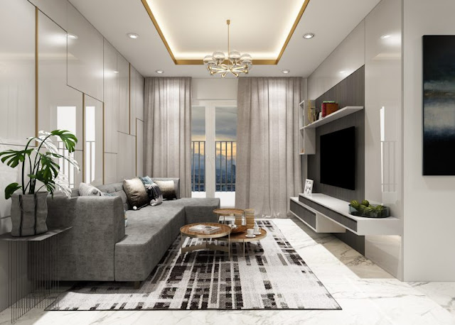 Thiết kế chung căn hộ Sơn Trà Ocean View 2 phòng ngủ - Phòng khách