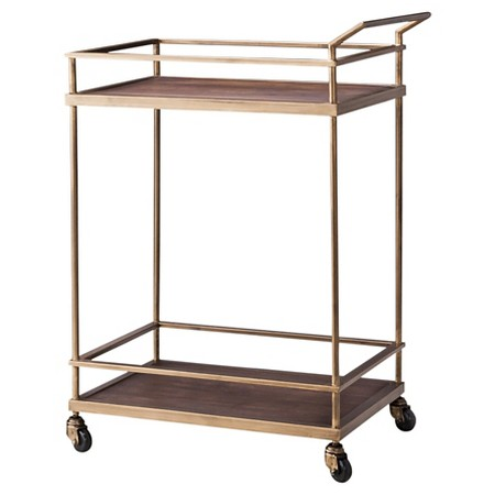 Threshold wood and brass bar cart