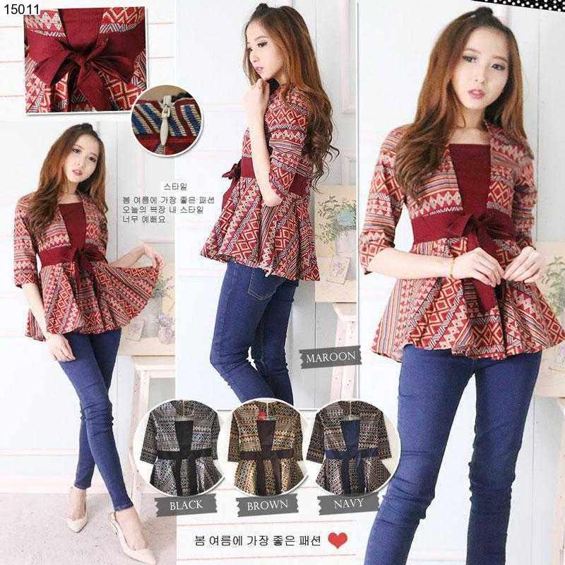 Jual Baju Batik Ayumi Peplum Batik Blouse - 15011