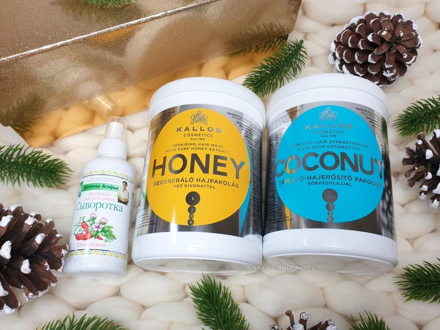 Maska Kallos Honey i Coconut, serum na porost włosów Apteczka Agafii