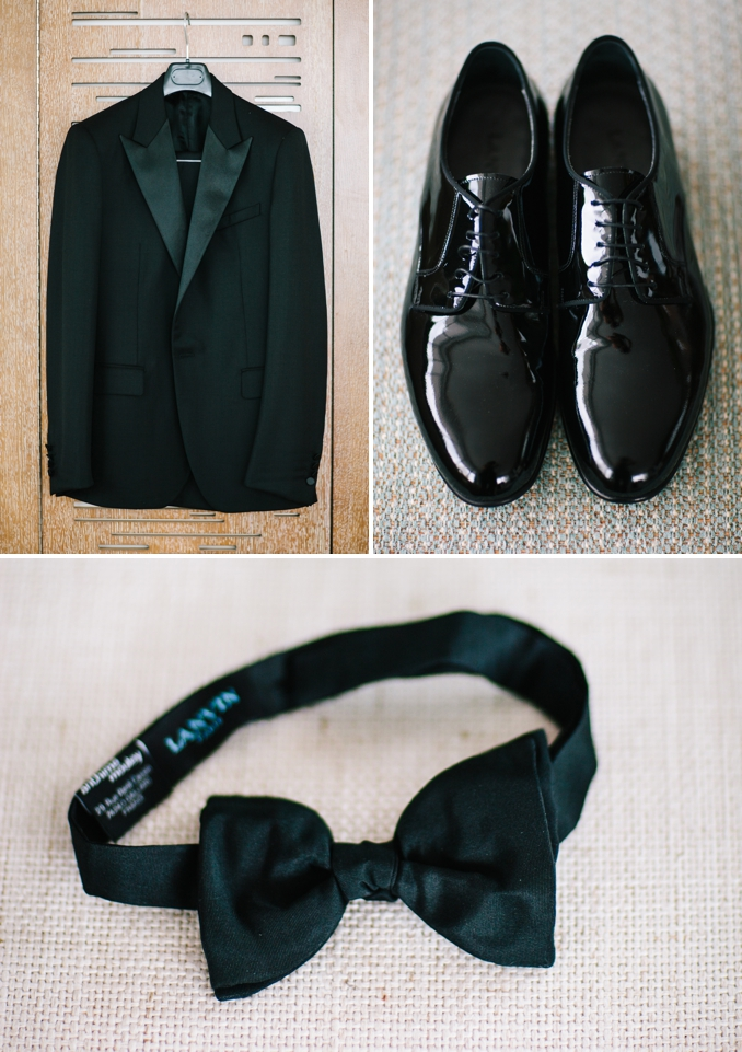 Groom's Lanvin tuxedo, shoes, and bowtie