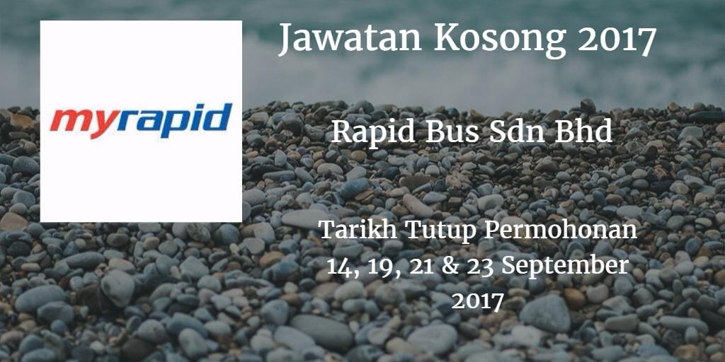 Jawatan Kosong Rapid Bus Sdn Bhd 14, 19, 21 & 23 September 2017