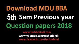 MDU Previous Year Question Papers BBA 5th Sem 2017