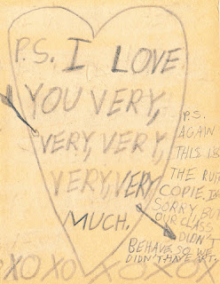 "Inside of hand-drawn Mother's Day card: ""P.S. I love you very, very, very, very, very much. XOXOXOXOX"""