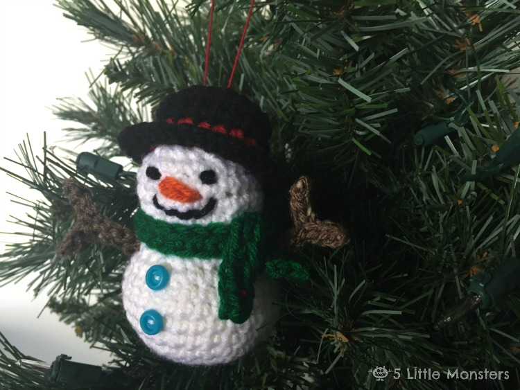 5 Little Monsters Crocheted Snowman Ornament