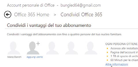 condivisione account office 365