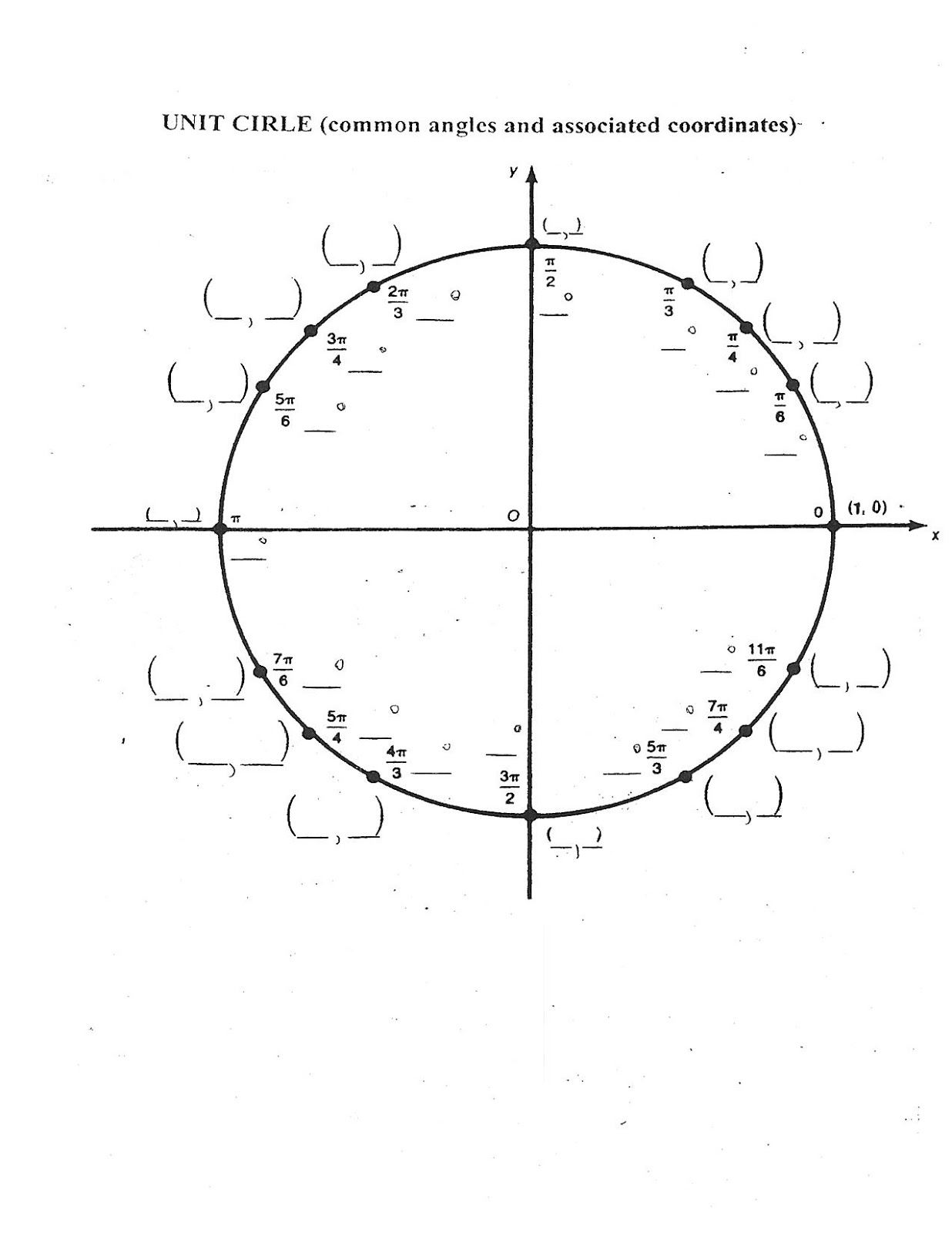 Printables Unit Circle Practice Worksheet Kigose Thousands Of Printable Activities