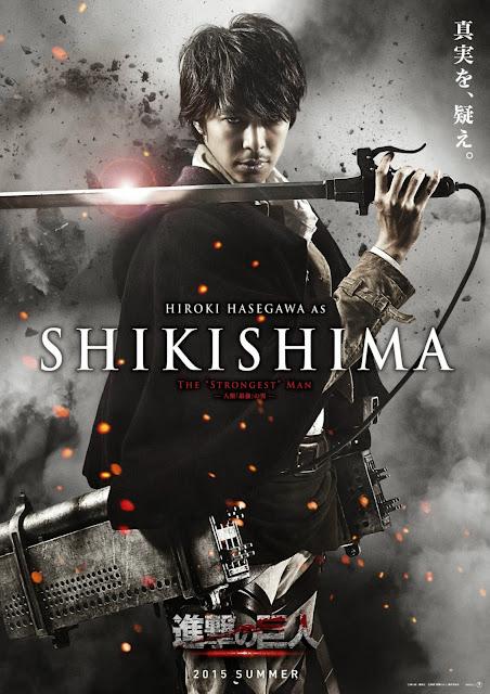 Plakat z filmu Attack on Titan na którym jest Hiroki Hasegawa jako Shikishima