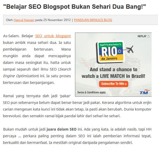 Pakar SEO Blogspot Malaysia