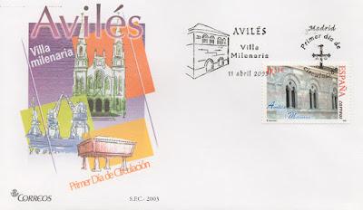 Sobre PDC del sello de Avilés, Villa Milenaria. Matasellos de Madrid
