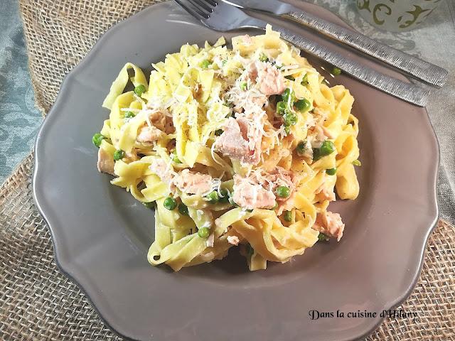 Tagliatelles façon Alfredo au saumon et petits pois - Dans la cuisine d'Hilary