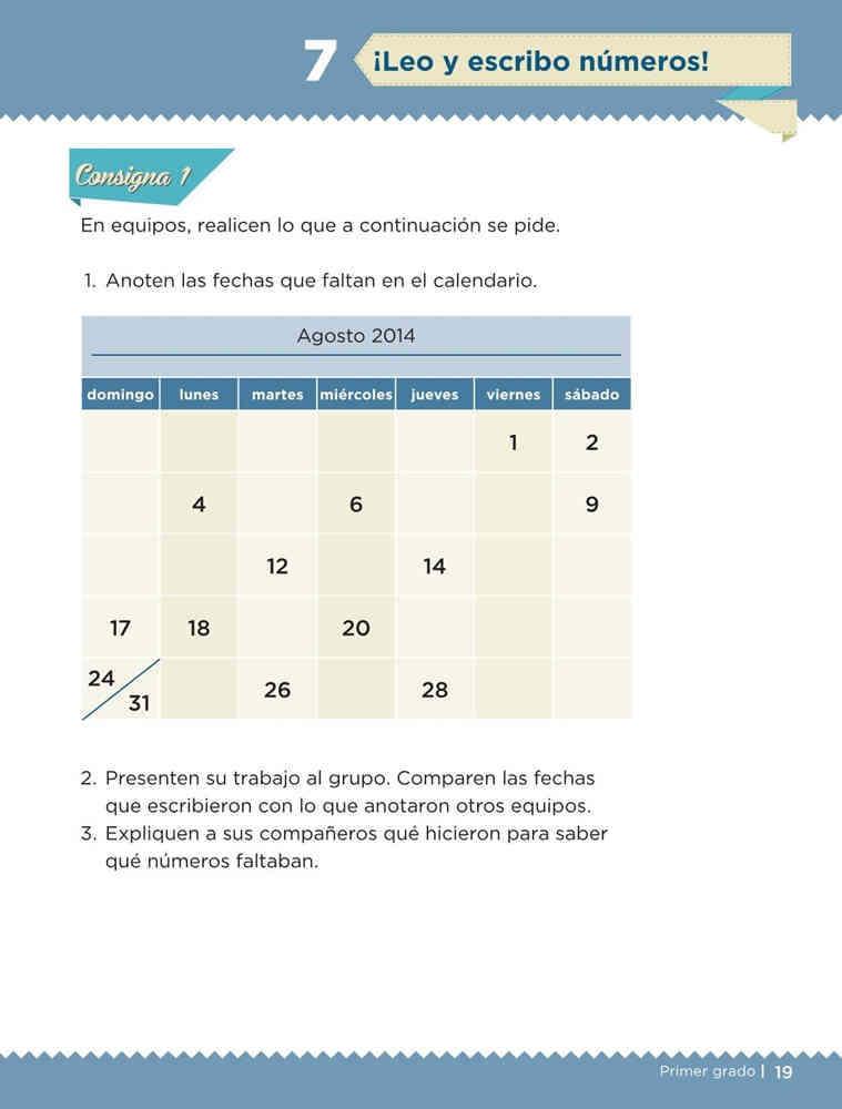 Libro de textoDesafíos Matemáticos¡Leo y escribo números!Primer gradoContestado