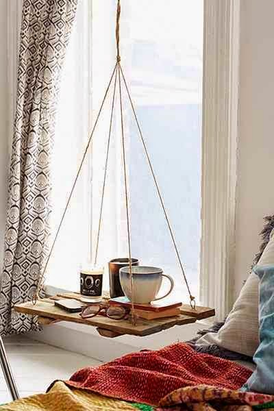 Reading Nook with Hanging Shelf