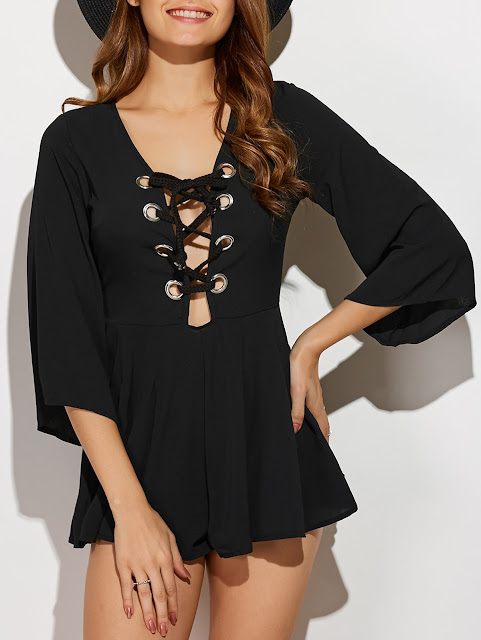 Criss-Cross Pleated Romper